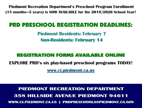 PRD Preschool 2019/2020 Registration | Piedmont Exedra