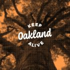 Keep Oakland Alive logo atop orange-tinted tree