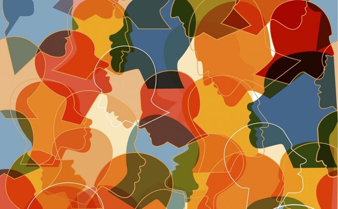 Abstract cartoon image of overlapping, brightly colored silhouettes of human faces.